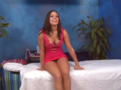 Brunette hair babe has her shaved snatch fucked by a large shlong