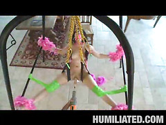 Madison had a blast getting fastened up with feather boas on a sex swing and having her mouth gagged to keep this little immodest legal age teenager slut from making too much noise. Her legs were widen wide open and was dripping with cum, begging to be fucked! We sprayed party string all over and cranked the fuck machine on high just in advance of that babe took a pounding from a hard shlong...