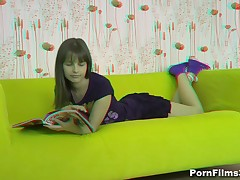 When a dude came to visit his beautiful girlfriend, this sweetheart was reading a magazine but that guy managed to persuade her they could do smth else. Luckily for him, that sweetheart surrendered to his strong hands and soft lips and, in her turn, took his shlong unfathomable into her mouth and into her sweet cum-hole as well.
