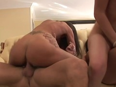 Rachel Joins Awesome Three Some Going Down In Living Room