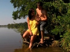Legal Age Teenager whore starts gratifying her fuckmate with sex in the lake